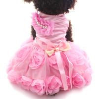 diseños de camisetas pequeñas al por mayor-Perro pequeño Gato Princesa Camisa de vestir RosetteBow Design Vestidos de cachorros Falda Ropa de primavera / verano Ropa Ropa 2 colores 6 tamaños