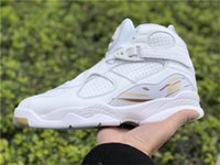 Wholesale Owl Shoes - Authentic Version Air Retro 8 OVO White Man Basketball Shoes Brand OVO Black Owl Authentic Sports Sneakers With Original Box