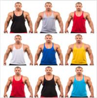 ingrosso singlette vuote-2018 Primavera Estate Fitness Men Blank Stringer Cotton Canotta Canotta Bodybuilding Sport Canottiera Canottiera Gym Canottiera Muscle