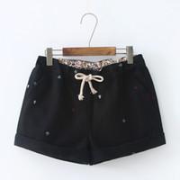 Wholesale kawaii pants - Kawaii Shorts Autumn Winter New Korean Wild Embroidered Waistband Shorts Wide Leg short Pant Female