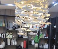 lustres de peixe venda por atacado-Personalizado BENCHER Simples Moda Criativo Branco Peixes De Cerâmica Lâmpada Sala de Jantar Lustres Iluminação Decoração Pingente Lâmpadas