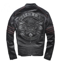 Wholesale embroidered motorcycle jackets resale online - championsjersey Frayed edge grinding men s leather jacket collar embroidered skull cowhide genuine leather men Slim motorcycle clothing