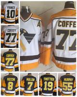 paul coffey jersey venda por atacado-Vintage Pittsburgh 77 Paul Coffey 10 Ron Francis 8 Marca Recchi 55 Larry Murphy 7 Joe Mullen 19 Camisas De Hóquei Em Casa De Bryan Trottier