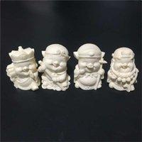 joyería de marfil de china al por mayor-Tallado en marfil pieza de mano versión Q Viaje a Occidente artesanías creativas joyas conjunto de regalo caja