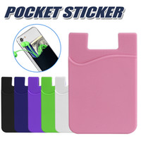 Wholesale stickers cases - Phone Card Pocket Sticker 3M Adhesive Sticker ID Credit Card Wallet Pocket Pouch Sleeve Universal for Smartphone with OPP Bag