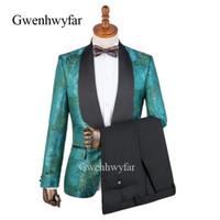vestido de pavão verde azul venda por atacado-Atacado Design Azul Verde Vermelho Pavão Cauda Padrão Jacquard Tuxedo Partido dos homens Vestido de Baile Ternos Pretos Calças Dos Homens Ternos De Casamento