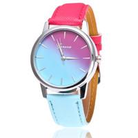 Wholesale Geneva Double Watch - New Wholesale women colorful geneva double colours Gradient design leather watch 2018 ladies casual dress party quartz watches