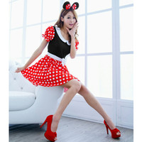 Wholesale sexy christmas lady outfits - New Fashion Sexy Christmas Wave Point Women Xmas Costume Cosplay Hot Sell Dress Up Outfit Ear Girl Sex Lady LB