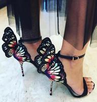 kadın kelebek askısı sandalet toptan satış-Sophia Webster Siyah Pembe Kelebek Kanatlı Nakış Yüksek Topuklu Bayanlar Elbise Düğün Parti Sandalet Sapanlar Gladyatör Kadınlar Akşam Sandalet
