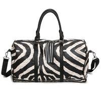 Wholesale zebra printed animals online - Hot New Zebra Stripe Duffel Bags for Woman Fashion Yoga Bags Large Capacity Luggage Bag Leather Crossbody Bag BA061