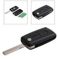 reemplazo de llaves de control remoto al por mayor-Negro 433Hz 2 botones Reemplazo remoto del coche Llavero transmisor Clicker alarma para Peugeot CIA_41B
