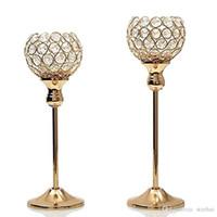 mesas de mosaico al por mayor-Candelabros de cristal de plata de oro de la vela de la mesa de centro del hotel candelabros del mosaico fijado para el banquete de boda del cumpleaños de la acción de gracias WX9-318