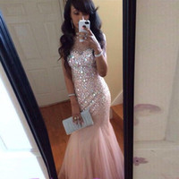 Wholesale Rhinestone Prom Gowns Evening - Pink Mermaid Pageant Prom Dresses Cheap 2018 Sheer Neck Bling Crystal Rhinestones Hollow Back With Zipper Long Tulle Evening Formal Gowns
