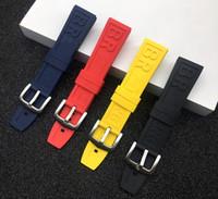 schwarze gummibandarmbänder großhandel-Marke Natur Rubber Watch Strap 22mm 24mm schwarz blau rot Yelllow Armband Armband für Navitimer / Rächer / Band Logo auf