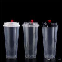 tek kullanımlık bardak toptan satış-700 ml 24 oz Tek Kullanımlık Plastik Bardaklar Kalınlaşmak Enjeksiyon Isı Dayanıklı Süt Çay Bardağı şeffaf Sıcak Içecekler Suyu Kahve Kupa Kapaklı 135y YY