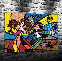mural arts flor venda por atacado-Amantes Flor Romero Britto, Pintura em tela Sala de estar Decoração de Casa Modern Mural Art Oil Painting