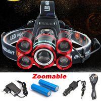 lanterna recarrega led lumens venda por atacado-5 * LED T6 XML Farol 20000 Lumens 4 mode Zoomable Farol Recarregável Cabeça Lâmpada lanterna + 2 * 18650 Bateria + AC / DC Carregador