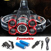 Wholesale rechargeable lumens headlamp for sale - Group buy 5 LED XML T6 Headlight Lumens mode Zoomable Headlamp Rechargeable Head Lamp flashlight Battery AC DC Charger