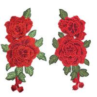 flores de tecido para costura venda por atacado-Rosa vermelha Bordado Costura No Remendo Flor de Ferro No Remendo Adesivos Para Roupas Crachá Costura Tecido Applique Suprimentos