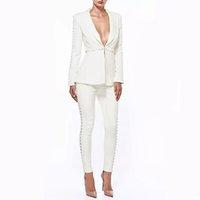 ingrosso vestito elegante bianco delle donne-2018 Autunno bianco formale giacca + pantaloni bianco donna elegante business abiti monopetto pulsante giacca ufficio femminile Pantalone Pantalone