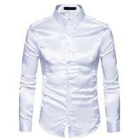 camisas de seda negras para hombres al por mayor-Camisa de seda de los hombres negros 2018 nuevo Slim Fit manga larga de seda satinado camisa de vestir para hombre de negocios de la boda del novio del smoking camisas masculinas