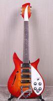 échelles de guitare électrique achat en gros de-RIC John Fogerty 325 trous Fire Glo Sunburst Guitare électrique semi-creuse, longueur réduite, longueur 527mm, Cordier Bigs Tremolo, 3 micros grille-pain