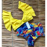 trajes de banho com pescoço esfarrapado venda por atacado-Floral Ruffled Hem Bikini Set Mulheres Flora Com Decote Em V De Cintura Alta Two Piece Swimsuit 2019 Menina Praia Maiô Swimwear Biquinis