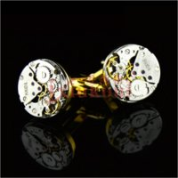 Wholesale Mens Cufflinks Gold - Mechanical Watch Movement Steampunk Mens Wedding Vintage Gold Plated Cufflinks Sleeve Nail French Business Shirt Cuff Links Gift