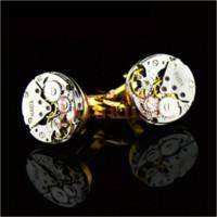 steampunk watch mekanik toptan satış-Mekanik İzle Hareketi Steampunk Mens Düğün Vintage Altın Kaplama Kol Düğmeleri Kollu Tırnak Fransız Iş Gömlek Manşet Bağlantılar Hediye