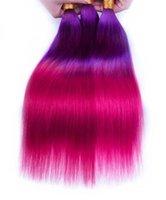 cabelo humano personalizado venda por atacado-Feito sob encomenda roxo rosa ombre Extensão Do Cabelo Bundles Cabelo Liso Brasileira Remy Tecer Cabelo Humano frete grátis