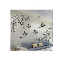 prix autocollants 3d mur achat en gros de-3D le plus bas prix calssic noir papillon fleur Wall sticker décor à la maison affiche flore papillons TV mur belle décoration
