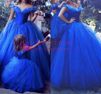 Wholesale corset drop waist - Fairy Royal Blue Wedding Dress 2018 Cinderella Style Off the Shoulder with Butterfies Princess Corset Waist Ball Gown Bling Bridal Dress