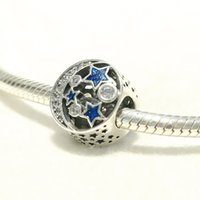 Wholesale diy jewelry coin charms online - Factory Blue Enamel Moon and stars Charms Sterling Silver European Beads Fit Pandora Charms Snake Chain Bracelet Jewelry DIY