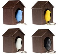 Wholesale novelty bird gifts resale online - Novelty Colorful Sparrow Bird Whistle Key Chain Love Bird House Key Ring Suite Home Furnishing Fashion Gifts