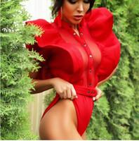 ingrosso lea moda-Sexy garza volant pieghe di loto lea fitness tuta abbigliamento donna moda sexy hot slim aderente tute solido signore tute pagliaccetti