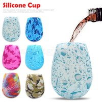 Wholesale cups art - Silicone Wine Glasses Camouflage Lip Bohemia National Skull Bubble Water Bottle Outdoor Cups Beer Whiskey Glass Drinkware Styles LJJO2054
