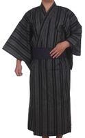 Wholesale japanese kimono traditional online - Traditional Japanese Kimono Men Cotton Robe Yukata Men s Bath Robe Kimono with Belt Uniform Stage Performance Samurai Clothing