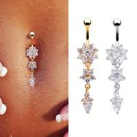 body jewelry venda por atacado-6 pçs / lote Sexy Dangle Barriga Barriga Umbigo Anéis Piercing de Barriga CZ Cristal Flor Jóia Do Corpo Piercing No Umbigo Anéis Drop Shipping