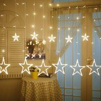 Wholesale led small christmas tree - Litwod Z20 Curtain Lights 12 Big Stars Small Star String Lights 220V 138 LEDs Christmas Lights Support Tandem
