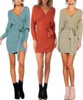 schnitt offene kleider großhandel-Mode Frauen ausgeschnitten V-Ausschnitt Open Back Batwing Langarm Faux Wrap Strickpullover Kleid