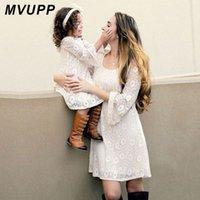 robe de maman fille achat en gros de-MVUPP Mère Fille Robes De Mode 2018 Nouvel Automne Tenues Assorties Maman Et Moi Bébé Filles Manches Longues Famille Look Dentelle Robe