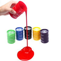 Wholesale multicolor oil paintings - DHL free Festival Novelty children adult toy oil drums trick paint barrel slime April fools day Halloween gag tricky toys by ulik