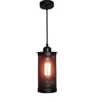 edison cage achat en gros de-Loft Vintage Suspension Abat-jour Industriel Edison noir cage pendentif lumières fer minimaliste rétro loft pyramide e27 lampes E028