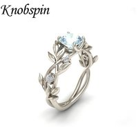 Wholesale blue leaf ring for sale - Group buy Olive Leaf Blue Zirconia Stone Rings for women Silver color wedding rings aneis feminino women jewelry for Christmas gift