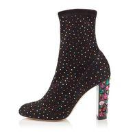 saltos de cristal venda por atacado-2018 bling bling cristal colorido studded ankle boots para as mulheres strass pista de salto alto botas primavera inverno sapatos de meias