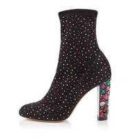 ingrosso donne colorate stivali-2018 Bling bling cristallo colorato borchiati stivali per le donne runway strass tacchi alti botas primavera inverno calzino scarpe