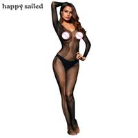 ingrosso lunga rete di pesci-Happy Sailed New Arrivals Lingerie erotica per le donne Sexy nero asimmetrico a rete inserto manica lunga Bodystocking LC79981