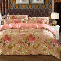 Wholesale king size bedding coverlet online - satin silk bedding set bedspread coverlets duvet covers sets twin full queen king size pink peony flower print woven girls home