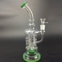 "Wholesale gear joints - 2018 New Arrival Glass Bongs 13.4"" Tall 18.8mm joint gear perc DabOil rig water pipes bowl quartz banger Green pipe"