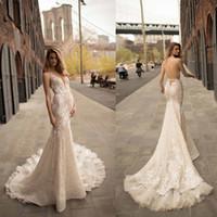 espalda abierta vestidos de novia modernos al por mayor-Modernos vestidos de novia de encaje de sirena llenos de espalda abierta 2019 cuello en V Tren largo Vestidos de novia Formales de lujo por encargo
